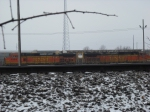 BNSF units with a grain train in South Yard